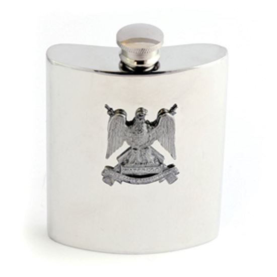 Picture of Royal Scots Dragoon Guards Polished Pewter Hip Flask