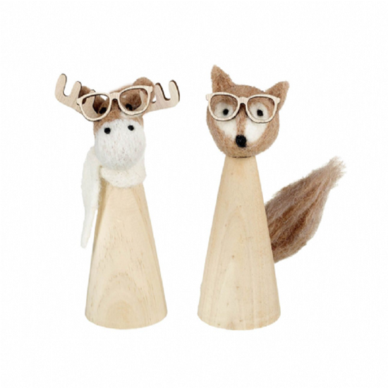 Picture of The Intelligent Mr Fox  and Moose Wood and Felt Decoration SALE