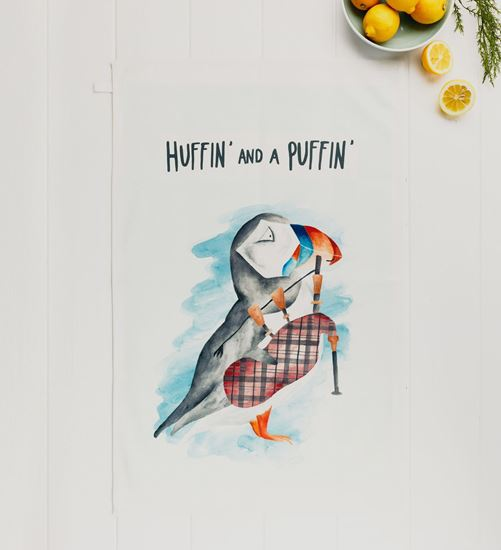 Picture of Huffin and a Puffin Tea Towel