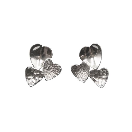 Picture of Uneven Heart Cluster Earrings - Reduced Price