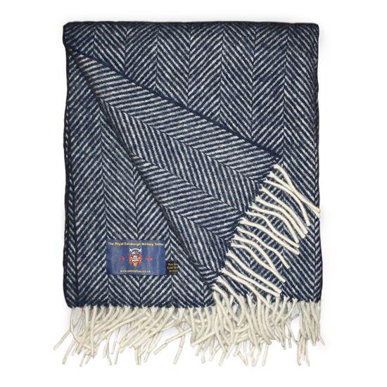Picture of Herringbone Wool Throw Blue