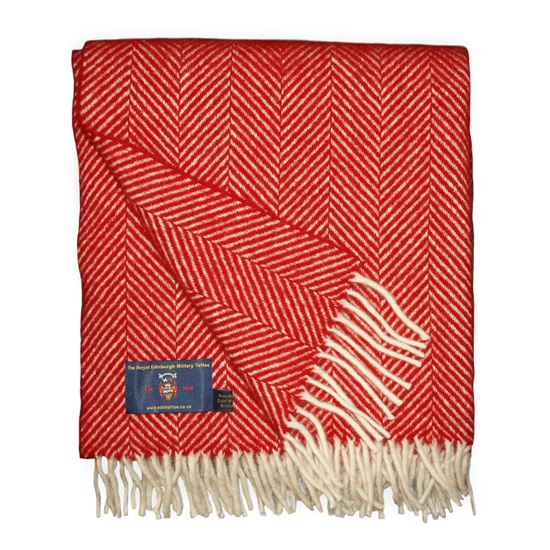 Picture of Herringbone Wool Throw Red