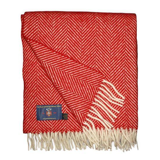 Picture of Herringbone Wool Throw Red
