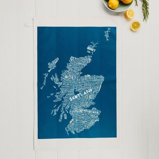 Picture of Deep Blue Scotland Map Tea Towel