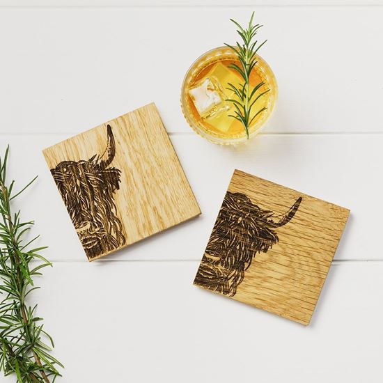 Picture of Oak Cow Coaster